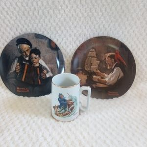 Set of 2 plates and 1 mug Norman Rockwell, Knowles